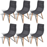 Set of 6 Dark Grey Fabric Dining Chairs