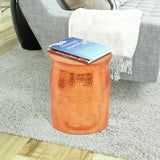 Copper Hammered Stool Side Table