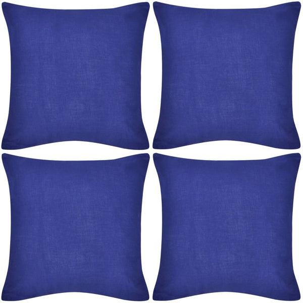 4 Blue Cotton Cushion Covers 40 x 40 cm