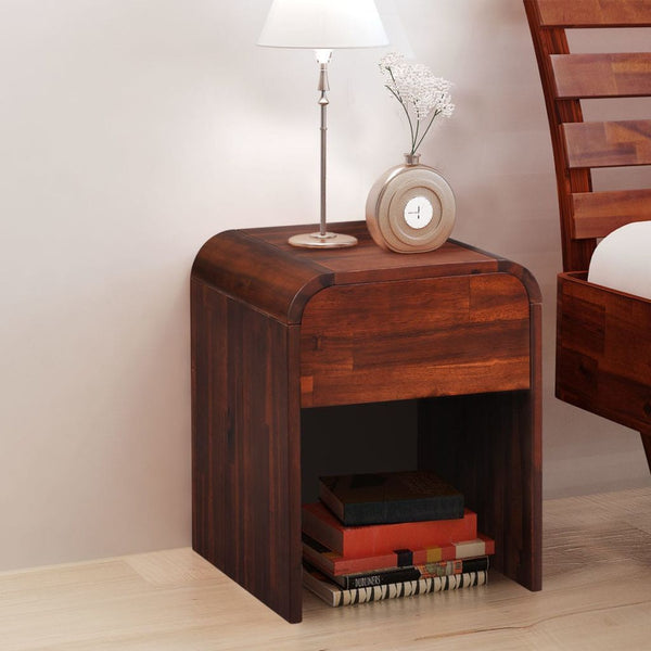 Brown Acacia Wood Bedside Cabinet