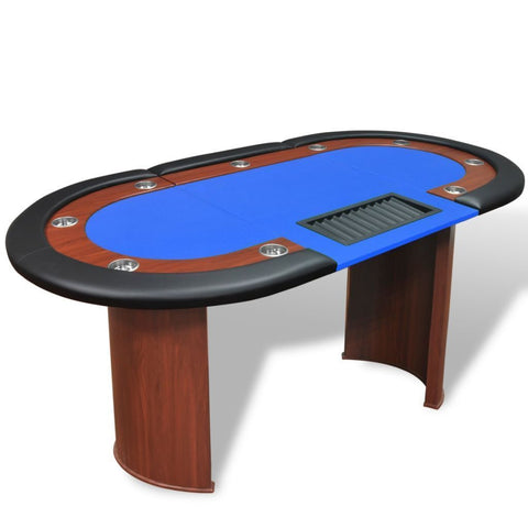 10-Player Blue Poker Table with Dealer Area and Chip Tray