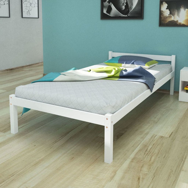 Single White Solid Pinewood Bed