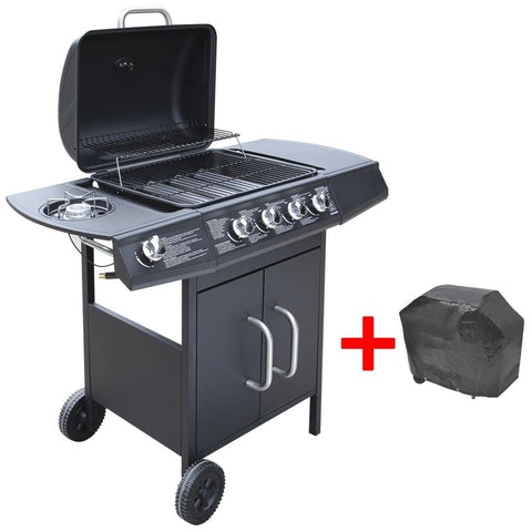 Black Gas Barbecue Grill 4+1 Burners