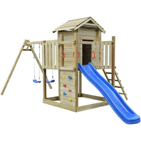 Playhouse Set with Ladder, Slide and Swings