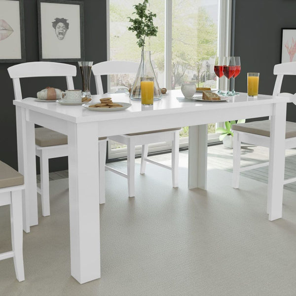 White Dining Table - 140 x 80 x 75 cm