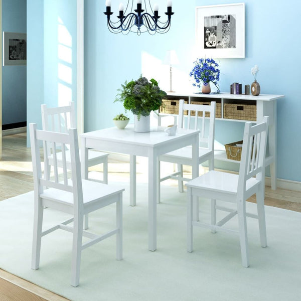 Five Piece White Pinewood Dining Set