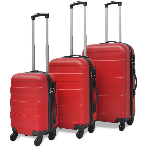 Red Three Piece Hardcase Trolley Set