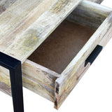 Solid Mango Wood Coffee Table with 2 Drawers