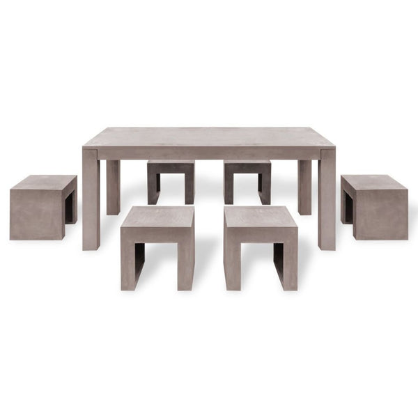 Concrete Outdoor Dining Set - 7 Pieces