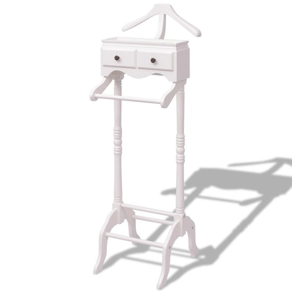 White Clothing Rack with Cabinet Wood