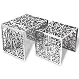 2 x Silver Square Aluminium Side Tables