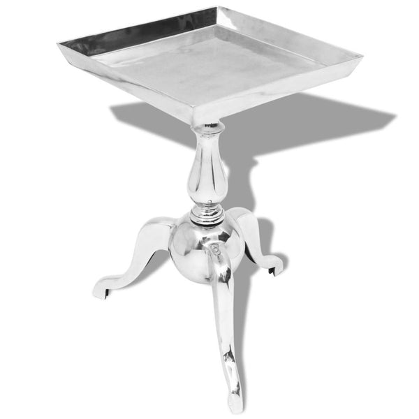 Silver Aluminium Square Side Table