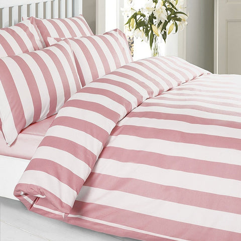 100% Cotton Pink Striped Duvet Set