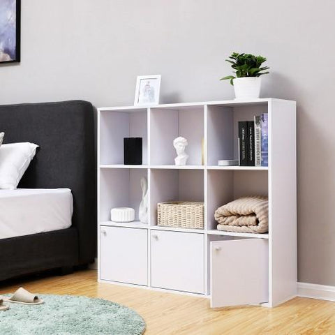 White Triple Bottomed Storage Bookcase