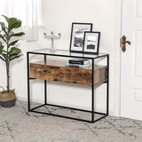 Rustic Brown Industrial Console Table
