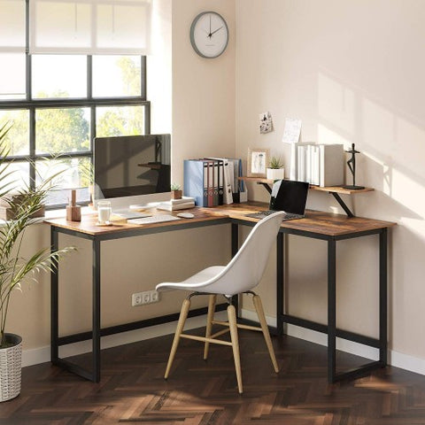 Rustic Office Desk with Computer Stand
