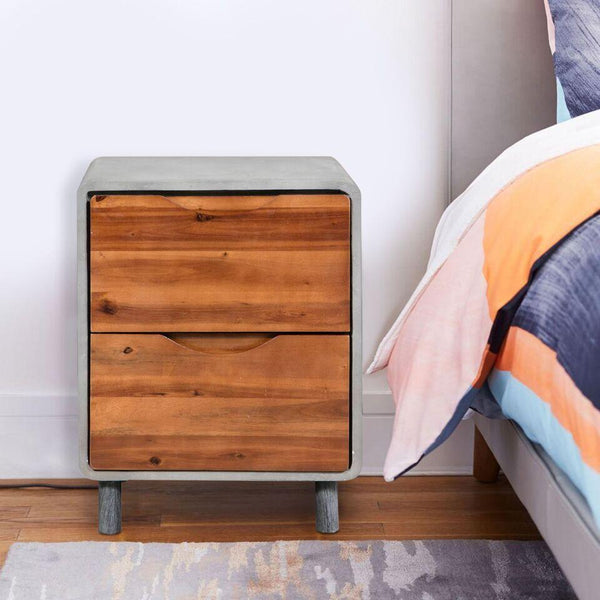 Concrete & Wood Bedside Table