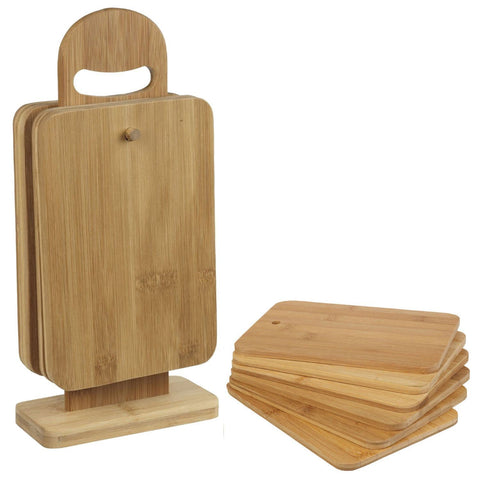 6 Piece Bamboo Chopping Board Set