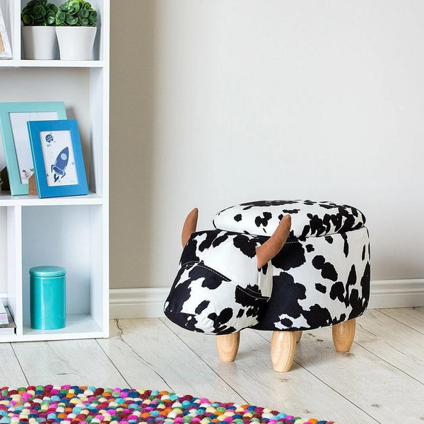 Modern Black and White Cow Stool