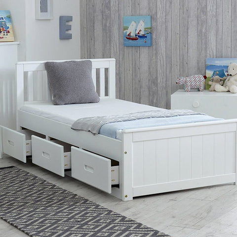 Single White Bed Frame with 3 Storage Drawers