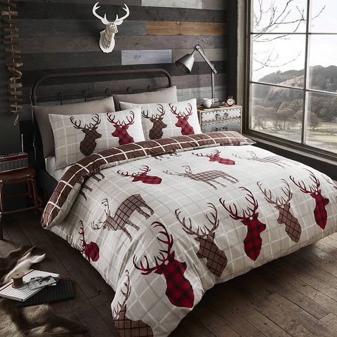 Natural Tartan Stag Duvet Set
