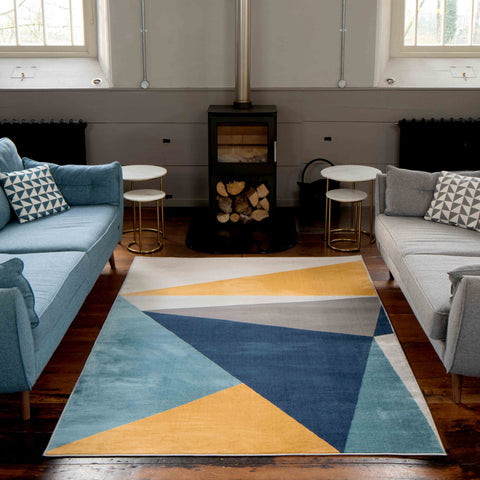 Blue Yellow Taipei Rug