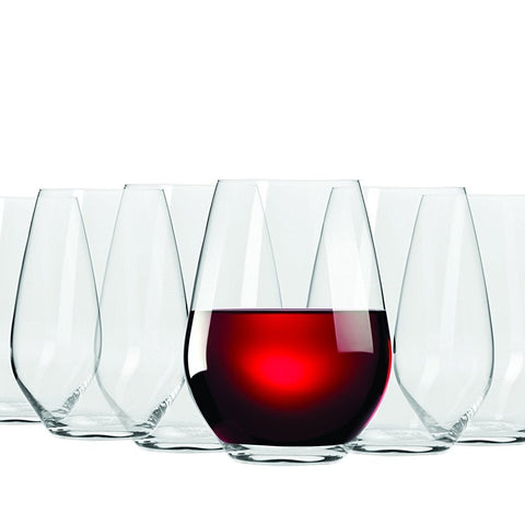 Set of 6 Stemless Red Wine Glasses - 540 ml