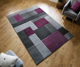 Purple & Grey Tetris Thick Rug