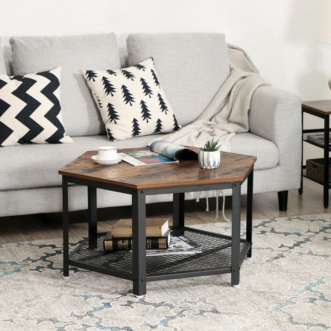 Rustic Brown Industrial Coffee Table