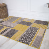 Contemporary Yellow & Grey Mosaic Rug