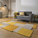 Yellow Abstract Collage Rug