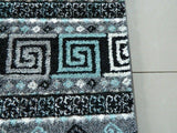 Dark Grey & Blue Greek Inspired Rug
