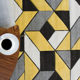 Contemporary Yellow & Black Block Rug