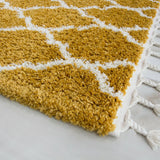 Mustard & White Trellis Rug with Tassels
