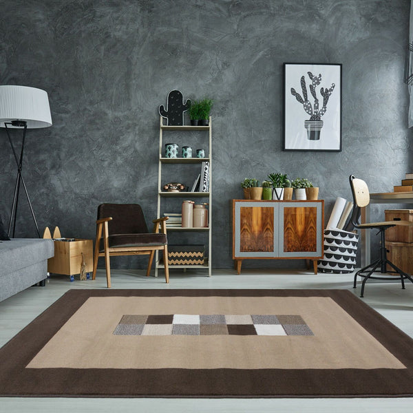 Brown Contemporary Centre Squared Rug