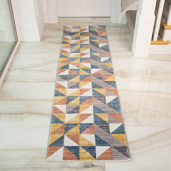 Yellow, Orange & Grey Geometric Rug