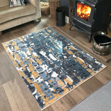 Distressed Grey & Yellow Abstract Rug