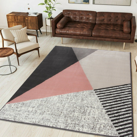 Plush Pink Abstract Rug