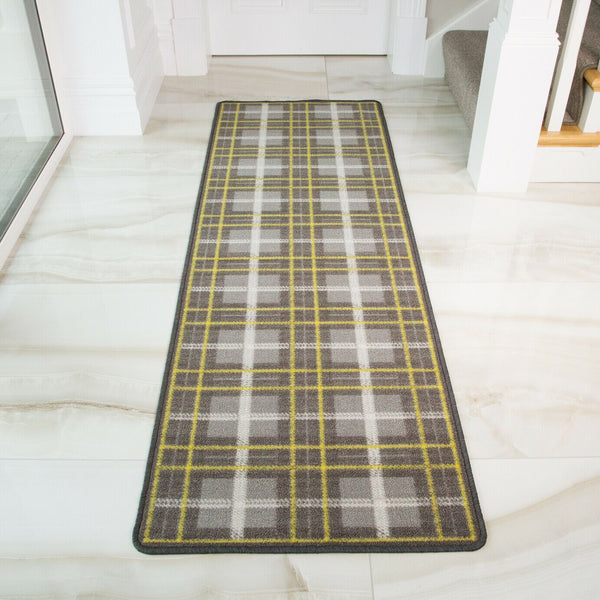 Yellow & Grey Tartan Runner Rug