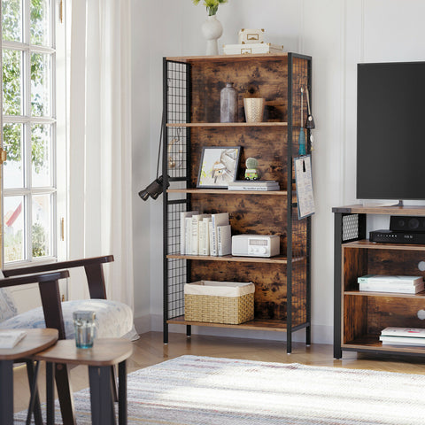 4 Tier Rustic Storage Grid Shelves