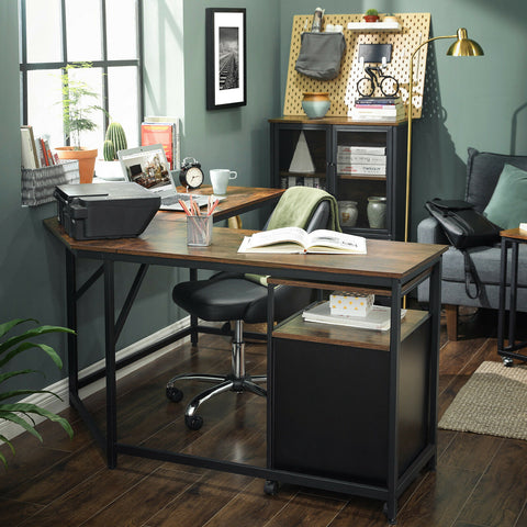 Rustic L-Shaped Corner Desk