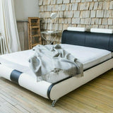 Black & White Leather Bed Frame - Double/King