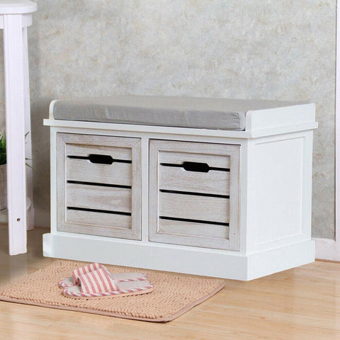Double Drawer Crate Bench with Seat Pad
