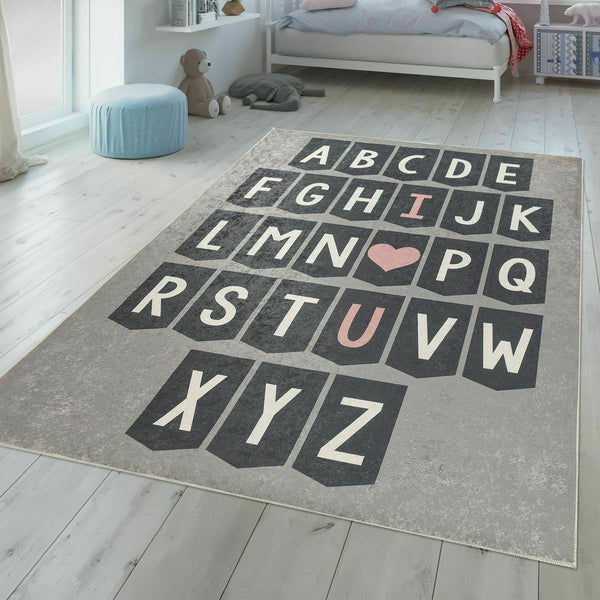 Grey Alphabet Playmat Rug