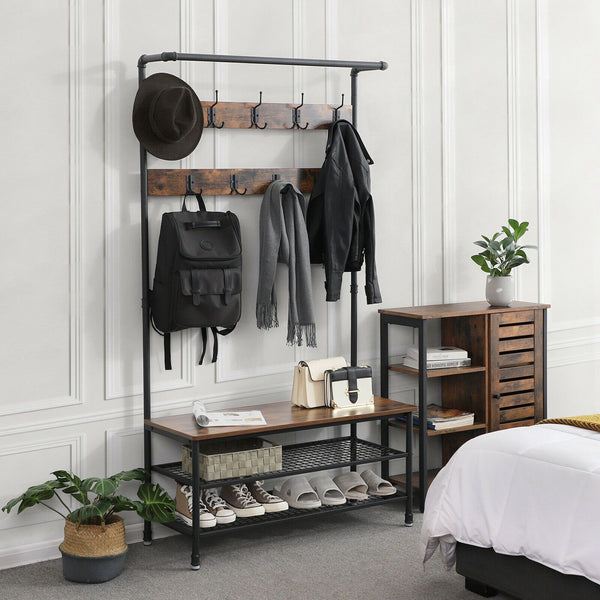 Rustic Industrial Coat Rack with Storage Bench