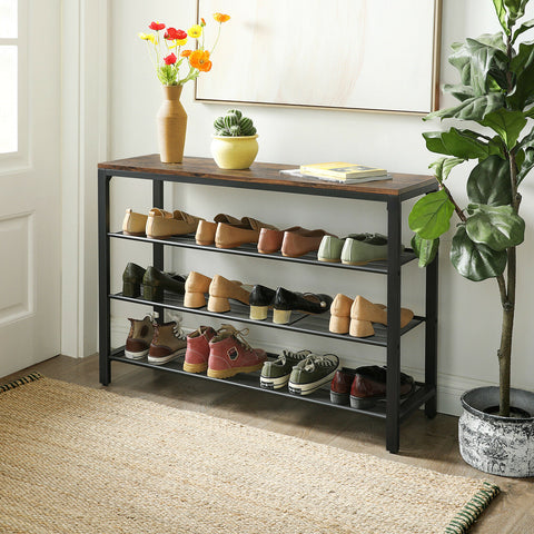 Rustic Brown Industrial Shoe Rack Bench