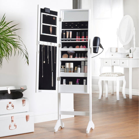 White Full Length Mirror Cabinet & Jewellery Organiser