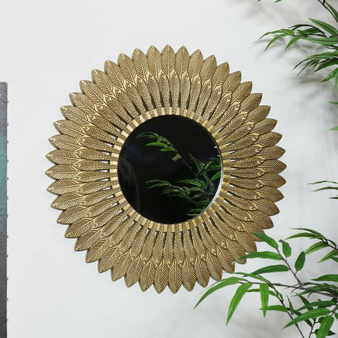 Large Gold Feather Wall Mirror