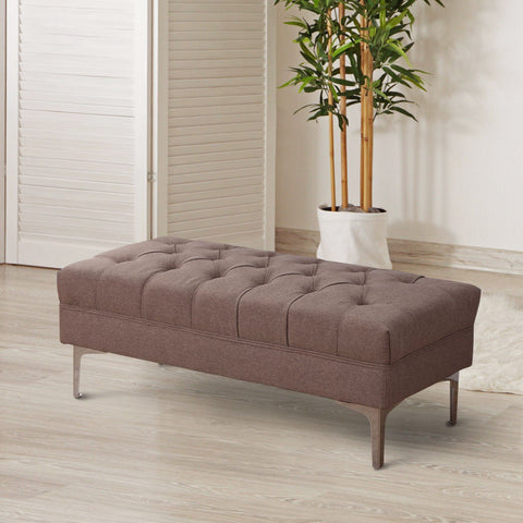 Brown Fabric Bench Seat
