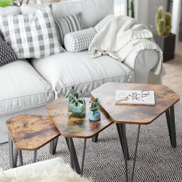 Rustic Brown Industrial Set of 3 Tables